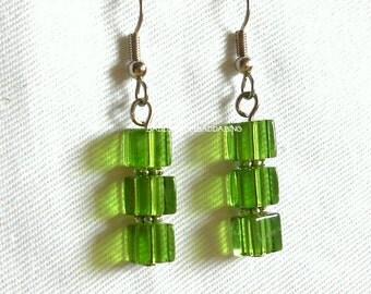 Green Multi Stack Dangle Earrings - Surgical Steel French Hooks