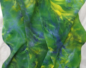 silk scarf Goldenrod Green crepe long gold blue painted dyed unique wearable art women fashion