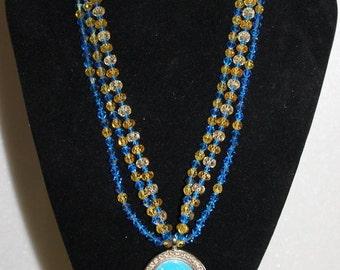 Tarina Tarantino Redesigned Turquoise/Yellow Crystal Barbie Necklace
