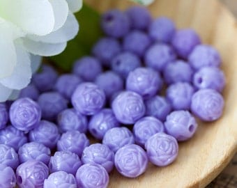 Vintage Lavender Purple Plastic Carved Rose Beads