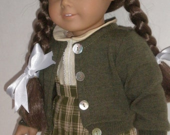 1940s Plaid Pleated Skirt, Blouse & Wool Sweater Molly or Emily 18 inch doll clothes