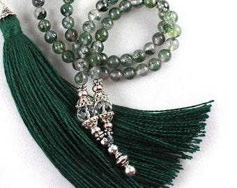 AA Moss Agate Mala Beads, Moss Agate Necklace, Tassel Mala, Mala Necklace, Prayer Beads, Meditation Beads, Tassel Necklace, Healing Gemstone