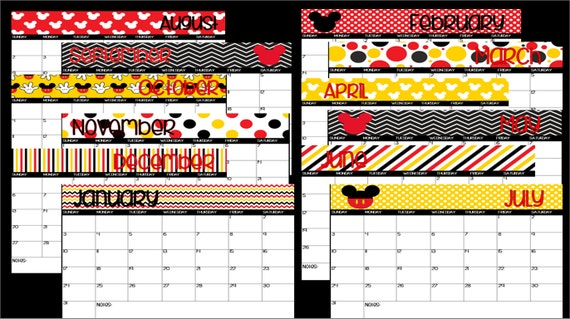 2016 Printable Mickey Mouse Disney Themed Calendar Instant