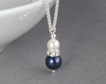 Navy Pearl Drop Necklace - White and Dark Blue Wedding Accessories - Midnight Blue Pearl and Crystal Bridesmaid Jewelry - Bridal Party Gifts