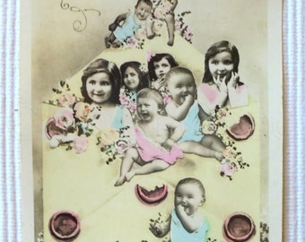 Vintage French New Year Postcard - Children and an Envelope