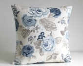 Shabby Chic, Decorative Pillow Cover, Floral Cushion Cover, 18 Inch Pillow Sham, 18x18 Pillowcase, Toss Pillow - Country Flowers Blue