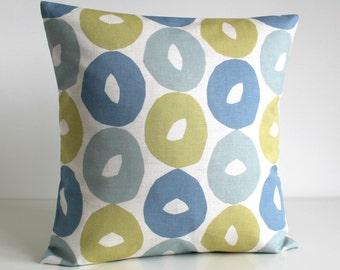 Duckegg Blue Pillow Cover, Circle Cushion Cover, Pillow Sham, Cotton Pillow Cover, Accent Pillow, Throw Pillow - Scandi Circles Duck Egg