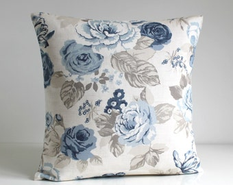 Shabby Chic, Decorative Pillow Cover, Floral Cushion Cover, Blue Pillow Sham, Cotton Pillowcase, Toss Pillow - Country Flowers Blue