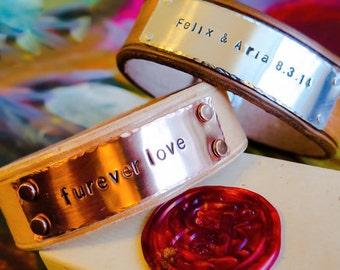Custom Leather Bracelet, Personalized leather cuff bracelet, Custom metal stamped cuff, Leather cuff