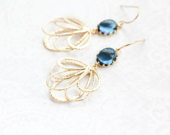 Dark Blue Glass Earrings Gold Filigree Floral Dangle Earrings Modern Montana Blue Bridesmaids Gift Bridal Jewelry Nickel Free Gift for women