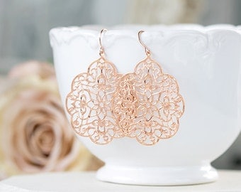 Rose Gold Filigree Earrings Bohemian Dangle Earrings Boho Chic Pink Gold Rose Gold Jewelry Moroccan Earrings Bohemian Wedding Bridal