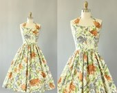 Vintage 50s Dress/ 1950s Cotton Dress/ Brown, Green, Gray Floral Halter Dress w/ Full Skirt XS/S