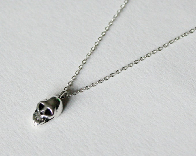 "Petite Mort ""Little Death"" Skull Necklace in sterling silver - sterling silver skull necklace - tiny skull necklace - skull jewelry"