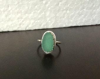 Sea Glass Ring Bezel Set Teal in Argentium Sterling Silver