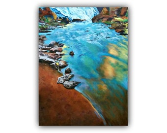 "Oil Painting, ""A Tranquil Moment""  #OriginalOil #waterfall #river #beach #rocks #reflection #Painting #blue #Sunset #signedByTheArtist"