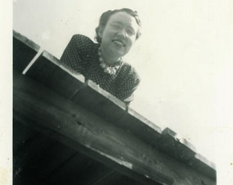 "Vintage Photo ""Peek-a-boo Roof"" Women Girl Odd High Snapshot Photo Old Antique Black & White Photograph Found Paper Ephemera Vernacular - 13"