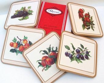 Vintage Cork Coasters / Drink Coasters / Pimpernel Coasters Set of 5 /  Still Life Fruit - Original Box