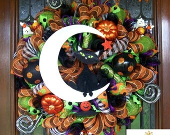 Whimsical Cat on the Moon Halloween Wreath