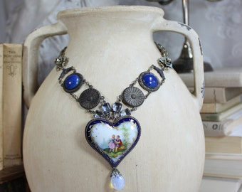 From the Heart- Antique French Limoge Heart Pendant- Pastoral Courting Scene- Cobalt Blue, Gold- 800 Silver- Vintage Assemblage Necklace-