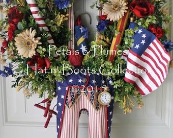 "PRE-ORDER for ""2017"" Patriotic Wreath July 4th Wreath-Primitive Uncle Sam-Memorial Day-Petals & Plumes Hat n' Boots Original Design©"