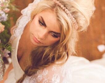 Beaded Headband, Beaded Headband with Ribbon Ties, Blush Beaded Headband, Bridal Accessory, Bride Blush Hair, Bridesmaid Headband LADY LOVE