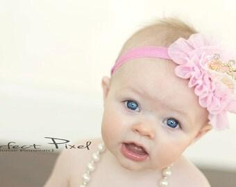crown headband- baby crown headband- princess crown -headband - gold crown- Newborn crown headband - princess crown- tiara- gold tiara- pink