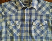 Vintage Levis Plaid Short Sleeve Pearl Snap Western Shirt Large