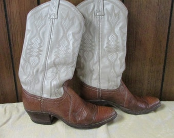 Women's Two Tone Lizard Cowboy Boots Dan Post Size 5.5