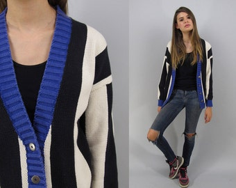 On Sale - Vintage 80s Striped Cardigan, Slouch Sweater Cardigan, New Wave, Urban, Color-Block Cardigan Δ fits sizes: xs / sm / md