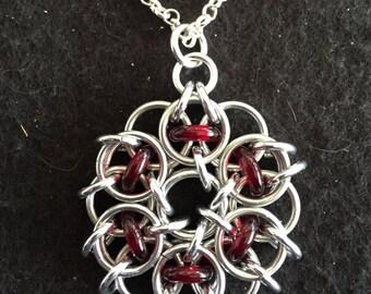 Round chain mail pendant