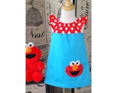 Girl Elmo Dress, Elmo Birthday Dress, A line Dress, Girl Flutter Sleeve dress, Elmo Toddler Dress, Baby Elmo Outfit,Teal and Red Party Theme