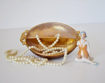Vintage Gold Goofus Glass Divided Vanity Dish