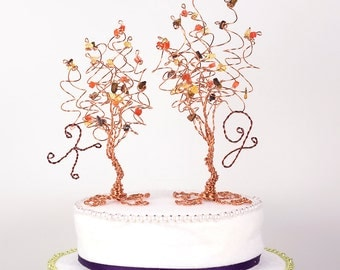 Two Trees Cake Topper Custom Wedding Cake Topper Pair of Wire Tree Sculptures