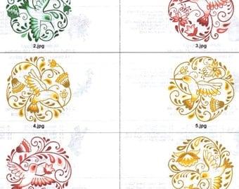 6x6 and 8x8 Hummingbird circles machine embroidery designs.