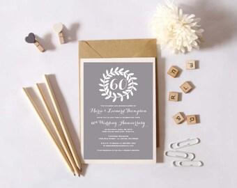 Instant Download - 60th Wedding Anniversary Invitation -  Diamond Anniversary - Custom Printable