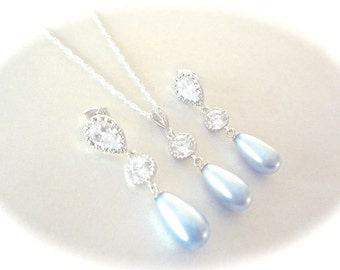 Baby blue pearl necklace and earring set - Bridal jewelry - Something blue - Swarovski pearls - Brides Jewelry set - Sterling - High End