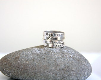 Sterling silver stacking rings, stacking rings, name rings, hand stamped stacking rings, stacking name rings, Mothers jewelry