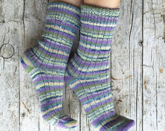 Knitted wool socks with stripes, midcalf socks for women