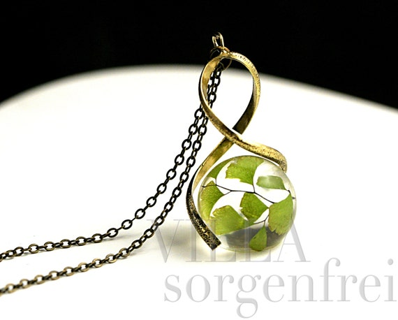 Real Fern Twisted Necklace Maidenhair Fern In Resin Orb In