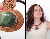 Tribal Bib Necklace Copper Agate Leather Green 90s Chicos