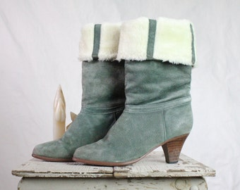 Vintage Sage Fleece Lined Suede Leather Boots Sz 7.5