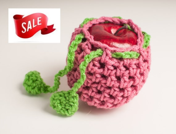 SALE Pink Apple/Fruit Cozy, Camaro, Lt Raspberry Pink and Spring Green - US Shipping Included