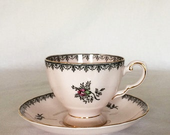 Tuscan English Teacup and Saucer Set 281H Pink Rose Buds Black Garland Gold Gilt