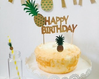 Pineapple Party ~ Cake Topper ~ Cupcake Topper ~ Pineapple Straw ~ Pineapple Banner ~ Your Choice