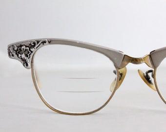 Vintage 50's Rose Pewter Aluminum Cat Eyeglasses