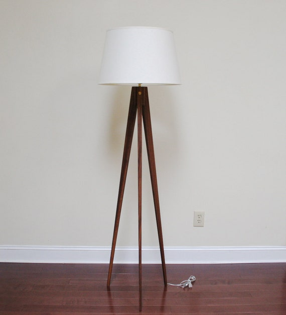 Floor Lamp Tripod Slim Walnut