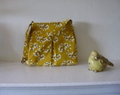 Yellow and White Floral Pleated Purse /Crossbody/ Handbag/ with adjustable strap