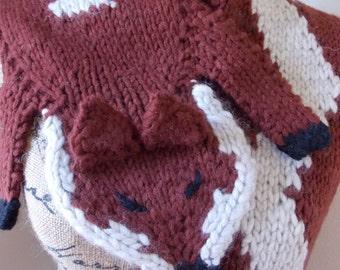 Red Fox Scarf, knit fox stole, merino wool knit shrug, hand knit animal drapes with cream chevron stripe, faux 1920's style fox fur stole