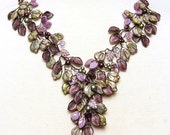 Long Purple Statement Necklace, Green and  Purple Bib Necklace, Chunky Floral Necklace with leaves, Winter Jewelry, Autumn Jewelry,