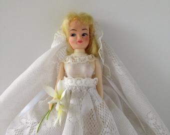 Vintage 60s 70s Bride Doll, Vintage Doll, Bride Doll, 60s 70s Doll, Kitschy Doll, Kitschy Toy, Vintage Toy, 60s 70s Toy